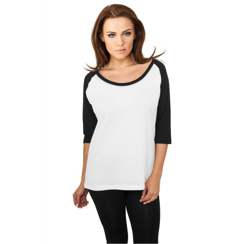 urban classics ladies 3 4 contrast raglan t shirt. Black Bedroom Furniture Sets. Home Design Ideas