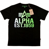 Alpha Industries Basic Shirt Print 16 schwarz/grün
