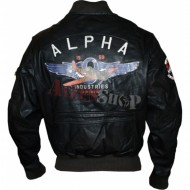 Alpha Industries MA1 VF 59 Patch Lederjacke braun