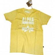 Alpha Industries T-Shirt Crack Print gelb