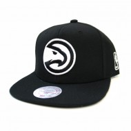 Atlanta Hawks Black and White Team Base Snapback | Mitchell & Ness | NBA
