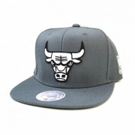 Chicago Bulls Black and White Team Base Snapback | NBA | Mitchell & Ness