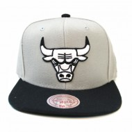 Chicago Bulls Grey Black and White Mono Logo Snapback | NBA | Mitchell & Ness