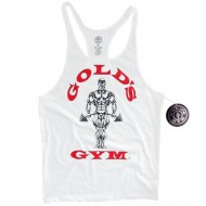 Golds Gym Stringer Tank Top Classic White
