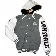 Lonsdale Hooded Collegesweatjacke Travis grau/weiss