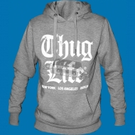 Thug Life - Old English Hoody grau