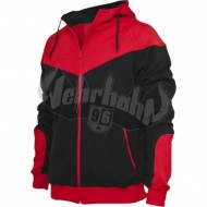 Urban Classics - Arrow Sweat Zip Hoodie schwarz/rot