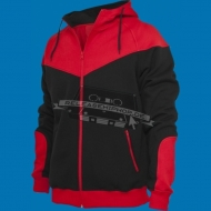 Urban Classics - Arrow Sweat Zip Hoody schwarz/rot