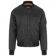 Urban Classics - Basic Bomber Leather Imitation Sleeve Jacket schwarz/schwarz