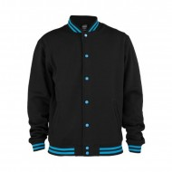 Urban Classics Contrast College Sweatjacket black/turquoise