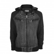 Urban Classics - Hooded Denim Leather Jacket
