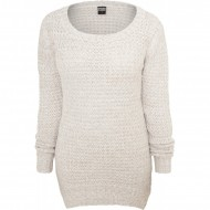 Urban Classics - Ladies Long Wideneck Sweater offwhite