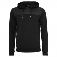 Urban Classics - Leather Imitation Shoulder Hoodie black/black