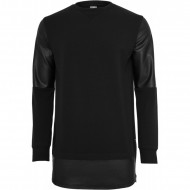 Urban Classics - Long Zipped Leather Imitation Crewneck