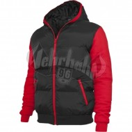 Urban Classics - Sweat Nylon Bubble Zip Hoodie schwarz/rot