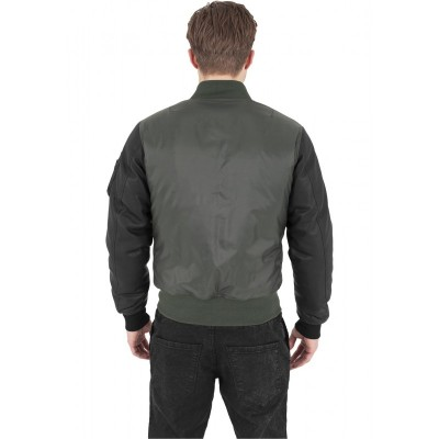 Urban Classics - Basic Bomber Leather Imitation Sleeve Jacket oliv/schwarz