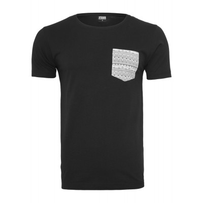 Urban Classics - Contrast Pocket T-Shirt black/atztec