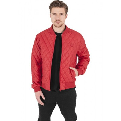 Urban Classics - Diamond Quilt Leather Imitation Jacket fire red