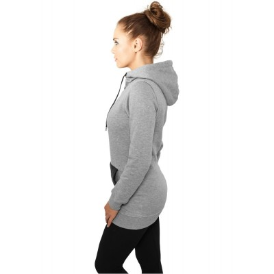 Urban Classics - Ladies Long Leather Imitation Pocket Hoodie grau/schwarz