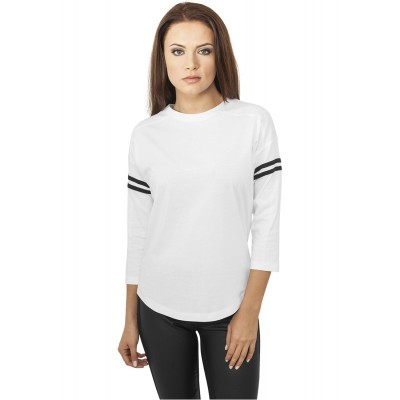 Urban Classics - Ladies Sleeve Striped L/S T-Shirt weiß/schwarz