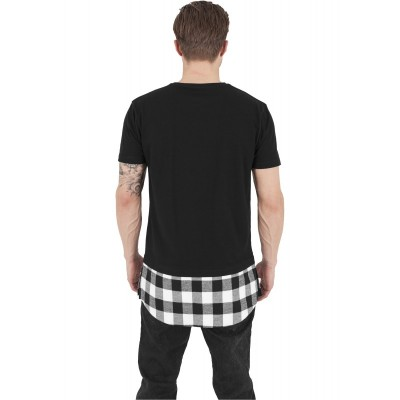 Urban Classics - Long Shaped Flanell Bottom Tee blk/blk/wht