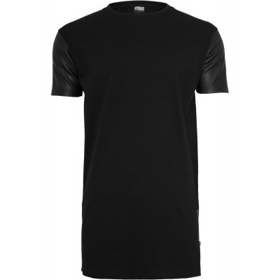 Urban Classics - Long Zipped Leather Imitation Sleeve Tee