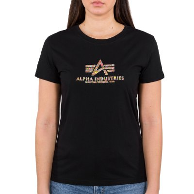 Alpha Industries Damen New Basic T-Shirt Holografic Print black/gold crystal